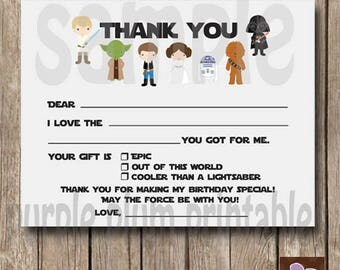 Instant Download - Star Wars Epic Thank you - fill in flat card - Print at Home