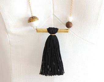 Tassel necklace /Beaded necklace/Brass necklace/Black long necklace/Asymmetrical necklace/Tribal necklace/Gift fot her/Valentines gift