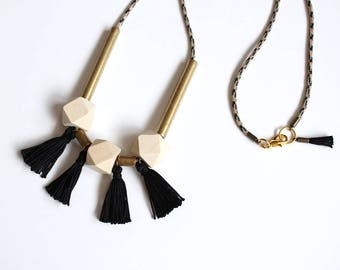 Tassel necklace/Geometric necklace/Hexagon necklace/Gold necklace/Tube necklace/Gift fot her/Valentines gift