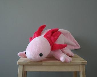 Axel Axolotl, cute pink axolotl plush, 22 inch, stuffed amfibian, ready to ship