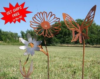 Garden stake set, Gardener gift set, Metal Flower, Butterfly stake, Daisy stake, Farm and garden, Landscape Set, Mixed Garden Stakes