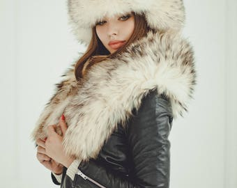 Real raccoon white fur hat for women Russian ushanka hat Fur trapper hat Luxury Christmas gift for wife