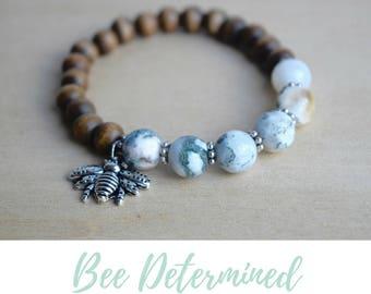 Jasper Yoga Bracelet / save the bees, grounding jewelry, bee charm bracelet, jasper jewelry real, solar plexus stone, root chakra crystal