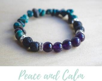 Amethyst Bracelet / yoga gift for mom, zodiac gifts virgo, gift from daughter, wife birthday gift, gift for yoga mom, chrysocolla