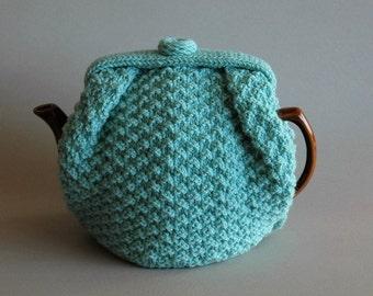 Aqua tea cozy handknitted in Bendigo wool, medium large size - ready to ship