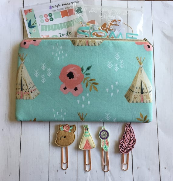 Teepees & Roses Planner Kit* Teepee Planner Clip* Floral bag* Boho fabric bag* pencil bag* Planner Stickers* Native Planner Clips * Deer