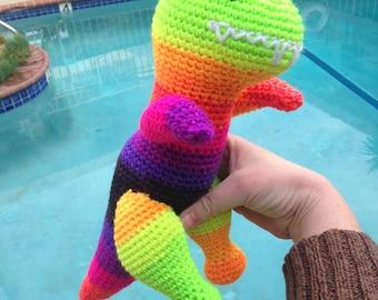 Rainbow T Rex, Tyrannosaurus Rex, NeonDinosaur, Rainbow Toy, Dinosaur Plushie, Rainbow Stuffed Animal, Handmade Plushie, Rainbow Animal