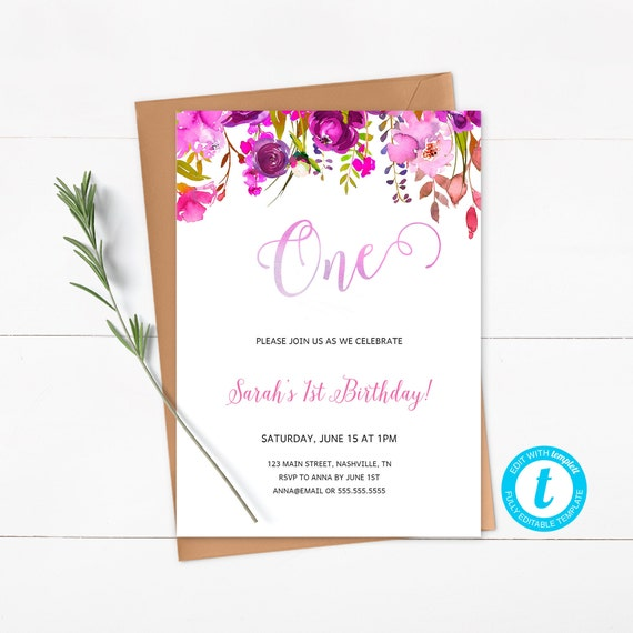 Purple Floral Birthday Invitation First Birthday Invitation - Purple birthday invitations template