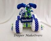 4 Wheeler Diaper Cake - Unique BabyShower Gift or Centerpiece - Unique DiaperCake - Baby Boy Diaper Cake -