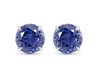 Blue Sapphire Studs - Blue Sapphire Earrings - Blue Sapphire Stud Earrings - Large Blue Sapphire Stud Earrings - Round Blue Sapphire Studs