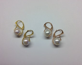 Lustrous 10mm Pearls in Pinch Leverback Setting in Rose Gold or 24K Gold Vermeil