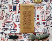 Tea towel - Boats & Beach Huts screen-printed (white or cream)