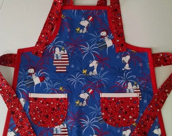 Boys Apron with Pockets Snoopy Woodstock Red White and Blue Birthday Gift for Kids Childrens Apron