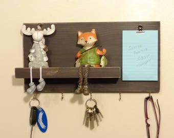 Key Holder - Shelf - Notepad - Wall Mounted - Other Colors Too - Ready To Hang