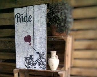 Rustic Wood Wall Art - Bicycle Art - Farmhouse Wall Decor - Rustic Home Decor - Farmhouse Decor Sign - Rustic Wood Wedding Gift