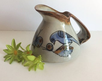 Ken Edwards Mexico Tonala El Palomar Pottery Pitcher, Mid Century Butterfly, Flower And Blue Bird Southwest Mexican Pottery, Collectible Art