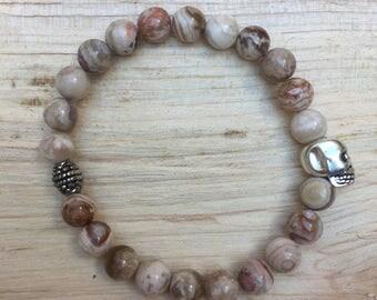 Gemstone skull bracelet pink zebra jasper