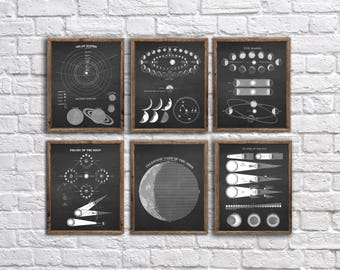Solar System poster prints Set of 6 unframed Astronomy Art  - Astronomy decor, Classroom decor, kids room decor, outer space decor