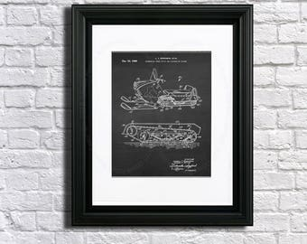 Vintage Snowmobile Art print #1 unframed - snowmobile decor - winter decor- lake cottage decor - snowmobiling gift idea - snowmobiling decor
