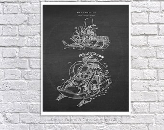 Vintage Snowmobile Art print #2 unframed - snowmobile decor - winter decor- lake cottage decor - snowmobiling gift idea - snowmobiling decor