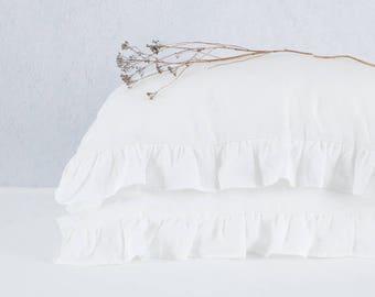 White ruffled linen pillowcases, custom size, linen pillow case with ruffles. Ruffle linen bedding.