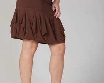 The Origami Ruffle Bamboo Skirt Knee Length High Fashion Stretchy :Made to Order Sz. Sm Med Lg XL 6 Color Choices Eco Friendly Organic