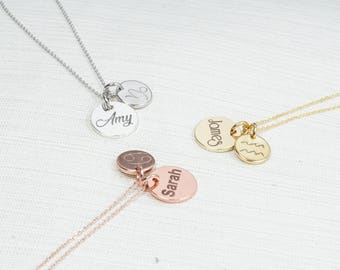 Personalised Zodiac Necklace, Name Necklace, Disc Necklace, Zodiac Jewelry, Zodiac name necklace
