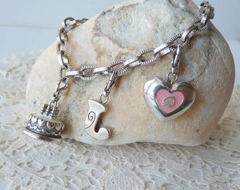 Silver Dangle Bracelet Heart Cake Initial J Charm Bracelet, Sweet Sixteen Bracelet, Silver Happy Birthday Charms  Modern  Girls Bracelet