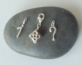 Vintage Silver Tone Charms Lot of 3 Small Silver Dice, Question Mark Number and One Vintage  Charms, Minimalist Charms Lot of Charms