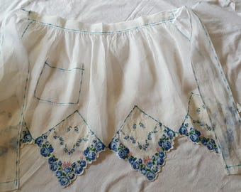Vintage White Organdy Hankie Hostess Apron