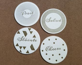 Letterpressed Holiday Coasters - Set of 12