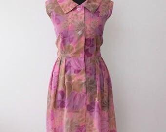 60s Mod Dress, Vintage 1960s Dress, Pink Floral Vintage Dress, Sleeveless Summer Dress, Sundress, RETRO, Scooter Dress, uk 10 S Small