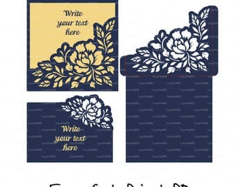 Set Invitation Envelope Peony flower, RSWP wedding card template ( svg, dxf, cdr, studio V3) laser cut Digital Instant Download Cricut Cameo