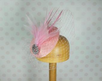 Light Dusky Pink Birdcage Veil Fascinator Crystal brooch Feather Mount Races netting Wedding hair comb net bright english rose vintage retro