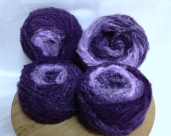 Cosmic Purple Yarn Cake Bundle Textured Unique Fiber Art Effect 4 Cake Bundle for Knitting Crocheting Embellishment Novelty Yarn Exotic Yarn