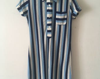 60s Blue Striped Mod Twiggy Dress