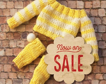 SALE! Blythe sweater and leg warmers set, yellow and white stripes