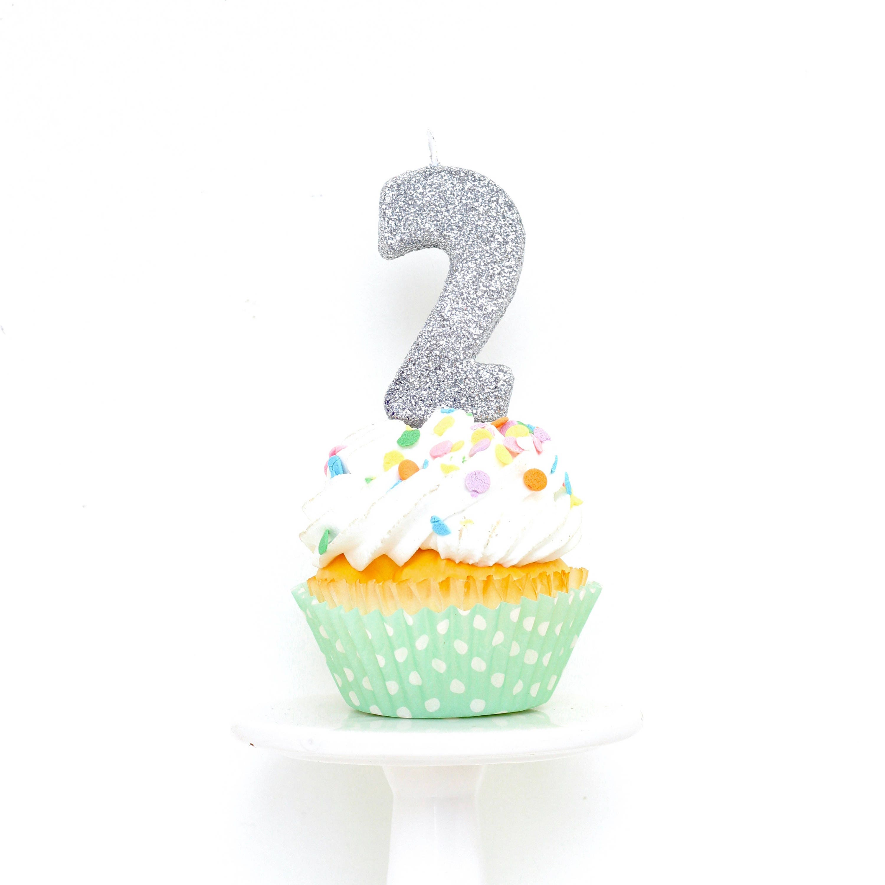 Silver Number 1 Birthday Cake Candle