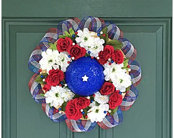 Patriotic Door Hat. Red White and Blue Decor. Independence Day Decorations. 4th of July. July 4th Decor. Front Door Wreath. Patriotic Wreath