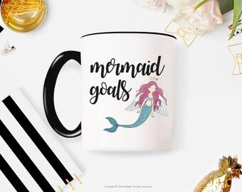 Mermaid Coffee Mug, Mermaid decor, Mermaid Mug, coffee mug, coffee cup, Mermaid Goals Coffee Mug 6FM