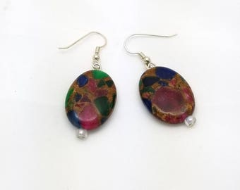 Gemstone Mosaic Earrings, Gemstone Chips, Mosaic, Gemstone, Oval Earrings, Stone, Silver Tone, Natural, Multi Colored, red, green, blue