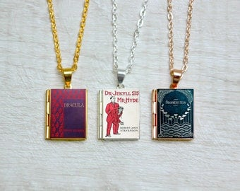 Horror Book Cover Locket Charm Jewelry Jewellery Necklace / Bracelet / Dracula / Frankenstein / Jekyll and Hyde / Dorian Gray Library Card