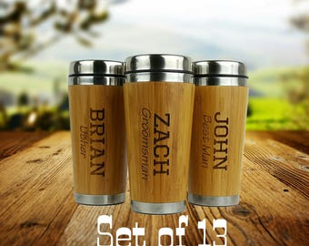 Set of 13- Groomsmen Gift - Personalized - Stainless Steel Bamboo Coffee Tumbler - Best Man, Groomsman, Father of the Bride