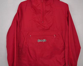 UGA Georgia Bulldog Red windbreaker poncho jacket // XL coat //
