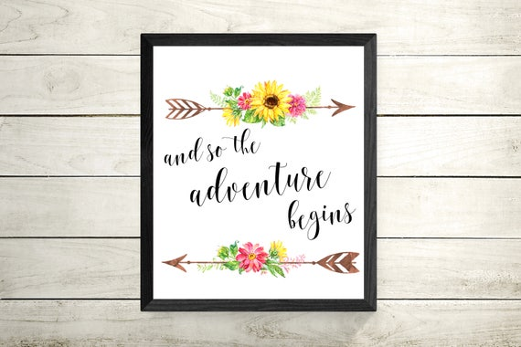 And So The Adventure Begins Framed Print - Framed Motivational Quote - Typography Quote - Flower Art - Wall Art - Home Decor - Office Decor