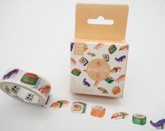 Sushi washi tape, kawaii washi tape, cute planner tape, Japanese washi, Japanese food, sushi tape, cute masking tape sushi deco tape sashimi