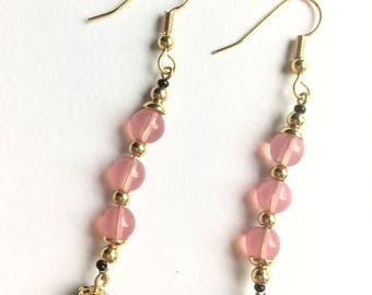 Earrings gold, vintage beads pink glass connector, black swarovski