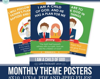 2018 LDS Primary Monthly Theme Posters - I am a child of God - 8x10 and 11x17- Moon Theme -MB