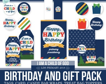 2018 LDS Primary Birthday and Gift Pack - I am a child of God -Moon Theme - MB