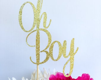 Oh boy cake topper | Baby shower cake topper | Baby boy cake topper | Gold cake topper | Gender reveal cake topper | Glitter cake topper